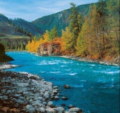 Горная река.  Фотообои, река. Размер: 204х194 см.
