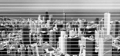Сити. Черно белые фотообои. Размер: 291х136 см.