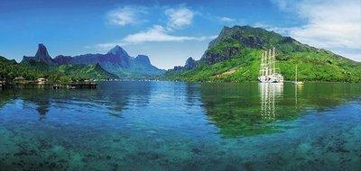 Голубая бухта. Фотообои морской пейзаж. Размер: 408х194 см.