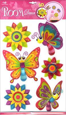 RCA0505V. Бабочки декоративные на стену. Размеры: 29х41 см. Количество: 6 элементов. Материал: ПВХ, блёстки,  влагостойкие, многослойные.