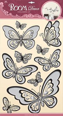 POA6806V. Наклейки на обои, бабочки. Размеры: 32х50 см. Количество: 10 элементов. Материал: ПВХ, имитация страз, отделка по контуру, элементы голограммы.