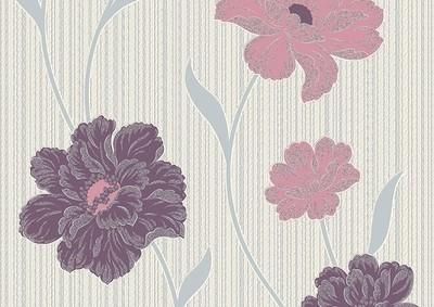 Джульета. Настенные обои с цветами. Виниловые на бумажной основе. Варианты цветов: серо-черный, коричневый, сиренево-голубой, бордово-бежевый, желто-зеленый.