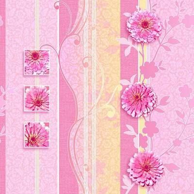 Вуаль. Артикул: 507-X. Обои в цветочек в интерьере. Бумажные тисненые окрашенные симплекс, флексографская печать. Варианты цветов: розовый.