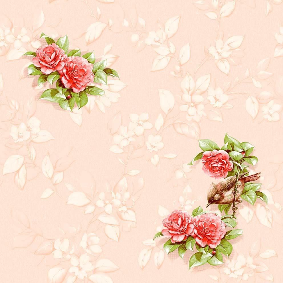 Иволга. Артикул: 506-X. Обои с цветами в интерьере. Бумажные тисненые окрашенные симплекс, флексографская печать. Варианты цветов: розовый.