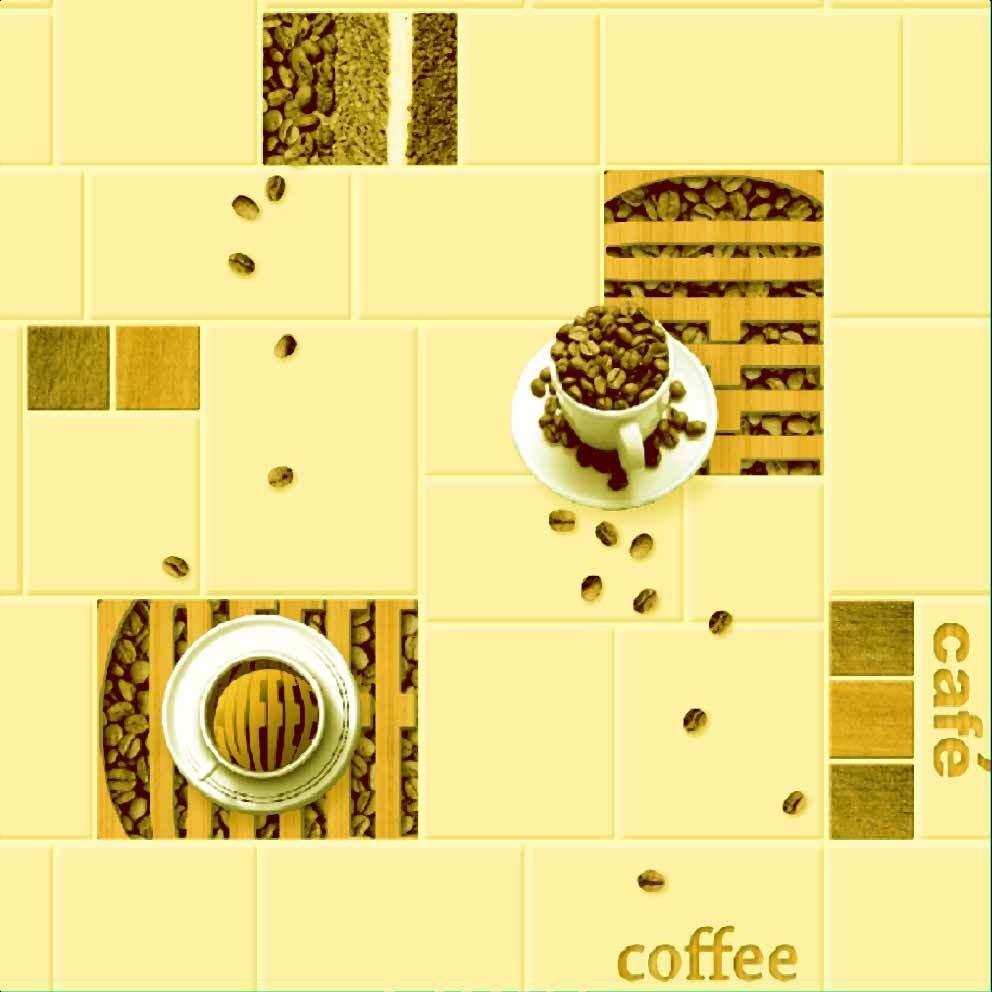 Кофейня. Артикул: 600-XX.  Обои для влажных помещений. Влагостойкие, глубокая печать. Варианты цветов: желтый