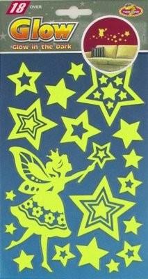 PUA 1006.Фея со звездами (мини) Светящиеся детские наклейки, влагостойкие. Размеры: 14*21,5 см. Размеры: 18 элементов. Материал: ПВХ.