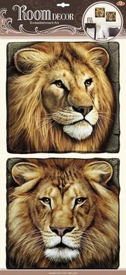 РОА 9509. Львы объемные. Наклейки на стену. Размер- 60*32 см. Материал-ПВХ, 3D эффект. Влагостойкие. Количество элементов-2.