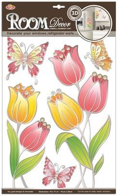 PОА 8811 ( витраж тюльпаны ) Стикеры наклейки для стен. Размер- 29*41 см. Материал-ПВХ, отделка по контуру, блестки. Влагостойкие. Количество элементов-5.