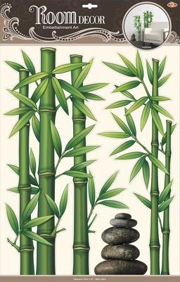 РОА 9804 ( бамбук с камнями ) Стикеры наклейки на стену. Размер- 38*50 см. Материал-ПВХ, с перломутровым покрытием, 3D эффект. Влагостойкие. Количество элементов-3.