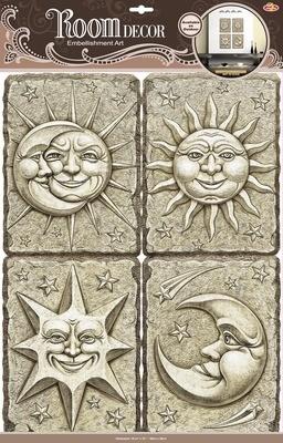 РОА 9601 ( солнце и луна ) Стикеры наклейки на стену. Размер- 38*50 см. Материал-ПВХ, имитация камня, 3D эффект. Влагостойкие. Количество элементов-4.
