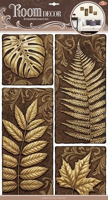 РОА 9401 ( листья папоротника ) Наклейки на стену. Размер- 32*50 см. Материал-ПВХ, имитация камня, 3D эффект. Влагостойкие. Количество элементов-4.