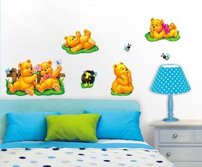 РОА 1001 ( медвежата ) Стикеры наклейки на стену. Размер:29*41 см. Количество элементов: 7. Материал: ПВХ, 3D эффект, влагостойкие.