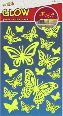 PUA 1010. Бабочки (мини) Светящиеся детские наклейки, влагостойкие. Размеры: 14*21,5 см. Размеры: 18 элементов. Материал: ПВХ.
