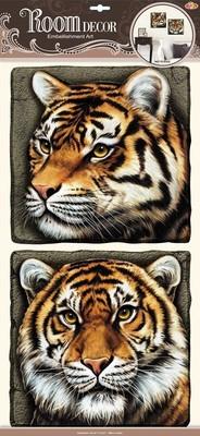 РОА 9508. Тигры объемные. Наклейки на стену. Размер- 60*32 см. Материал-ПВХ, 3D эффект. Влагостойкие. Количество элементов-2.