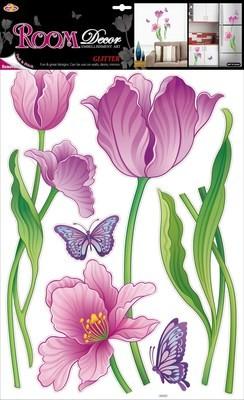 RDA 9378. Тюльпаны с блестками. Стикеры наклейки на стену. Размер:68*42 см.Материал-ПВХ, блестки.Влагостойкие. Количество элементов-12.