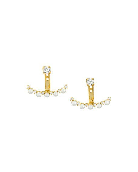 Gold Clear CZ Jacket Earring with mini pearls