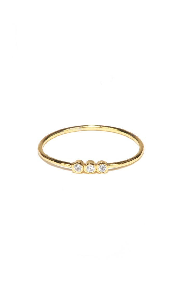 Gold Simple Ring with 3 CZ