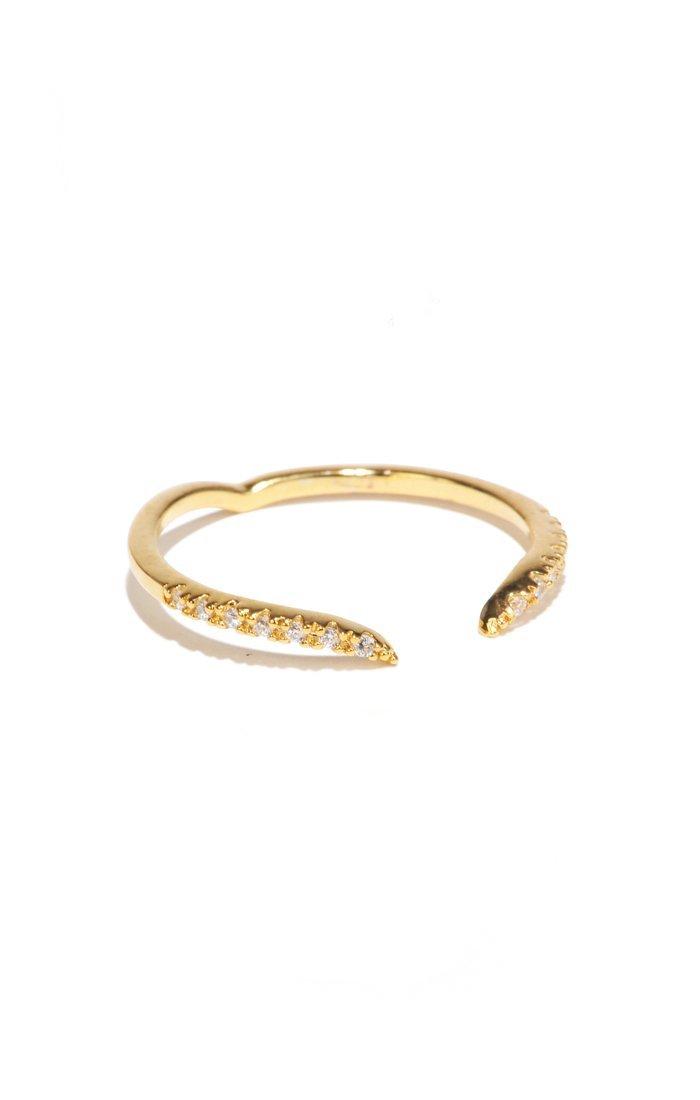 Gold CZ V Ring