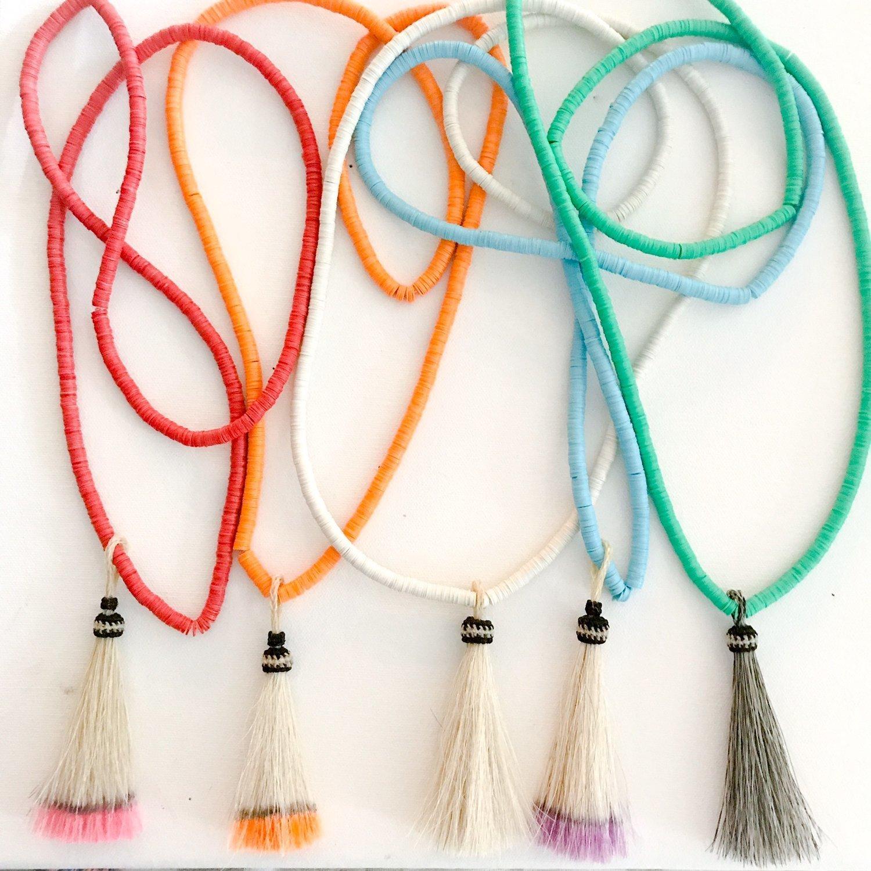 African Vinyl Horsehair Tassel Necklaces