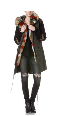 Faux Fur Hooded Military Jacket