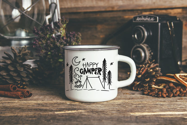 Metal Camp Mug - Happy Camper 00327