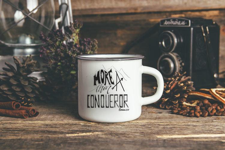 Metal Camp Mug - More than a Conqueror 00329