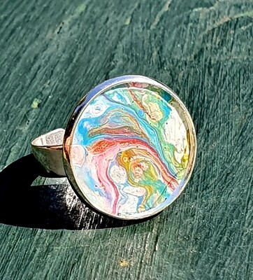 2 cm ring - pastels with gold