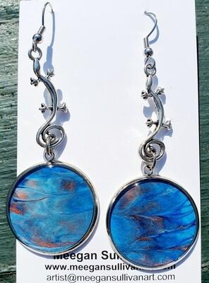 Earrings - gekkos - blues & bronze