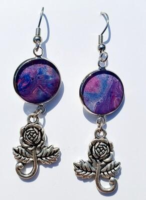 Earrings - roses - purples & blues