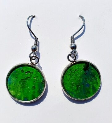 Earrings - bright green & dark blue