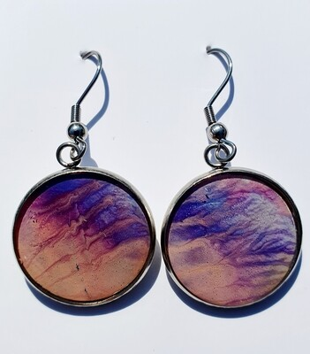 Earrings - purple & cream shimmers