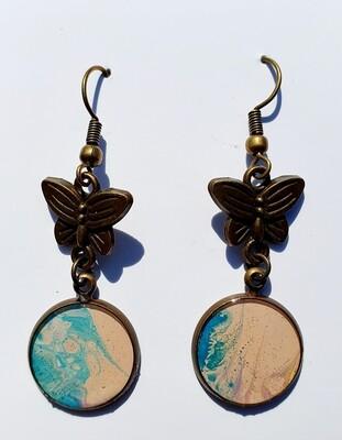 Earrings - butterflies - blues & pale pinks