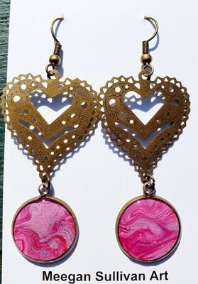 Earrings - hearts - pinks