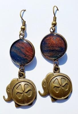 Earrings - elephants - bronze