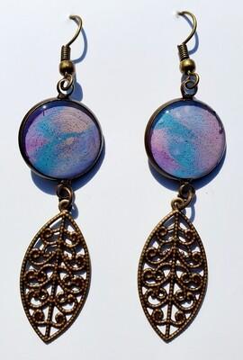 Earrings - filigree - purple, blue, pinks