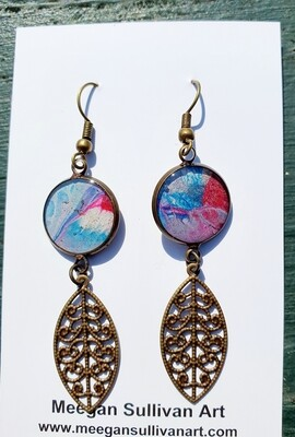 Earrings - filigree - pinks & blues