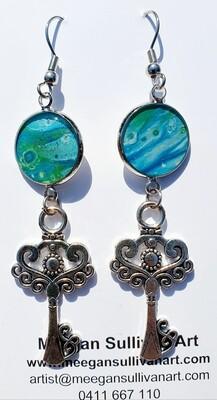 Earrings - keys - blues & greens