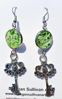 Earrings - keys - greens