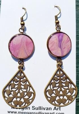 Earrings - filigree - pastel pinks