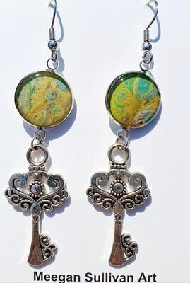 Earrings - keys - pastel green & yellow