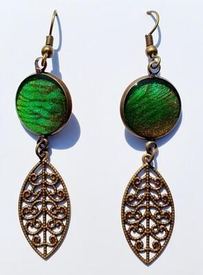 Earrings - filigree - green & bronze