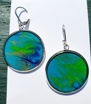 Earrings - blues & bright  green
