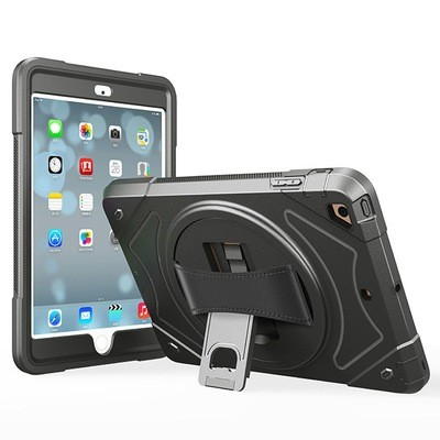 Apple iPad New 9.7 ( Gen 5 & Gen 6 ) Robot ShockProof Case with Leather Rotating Handle