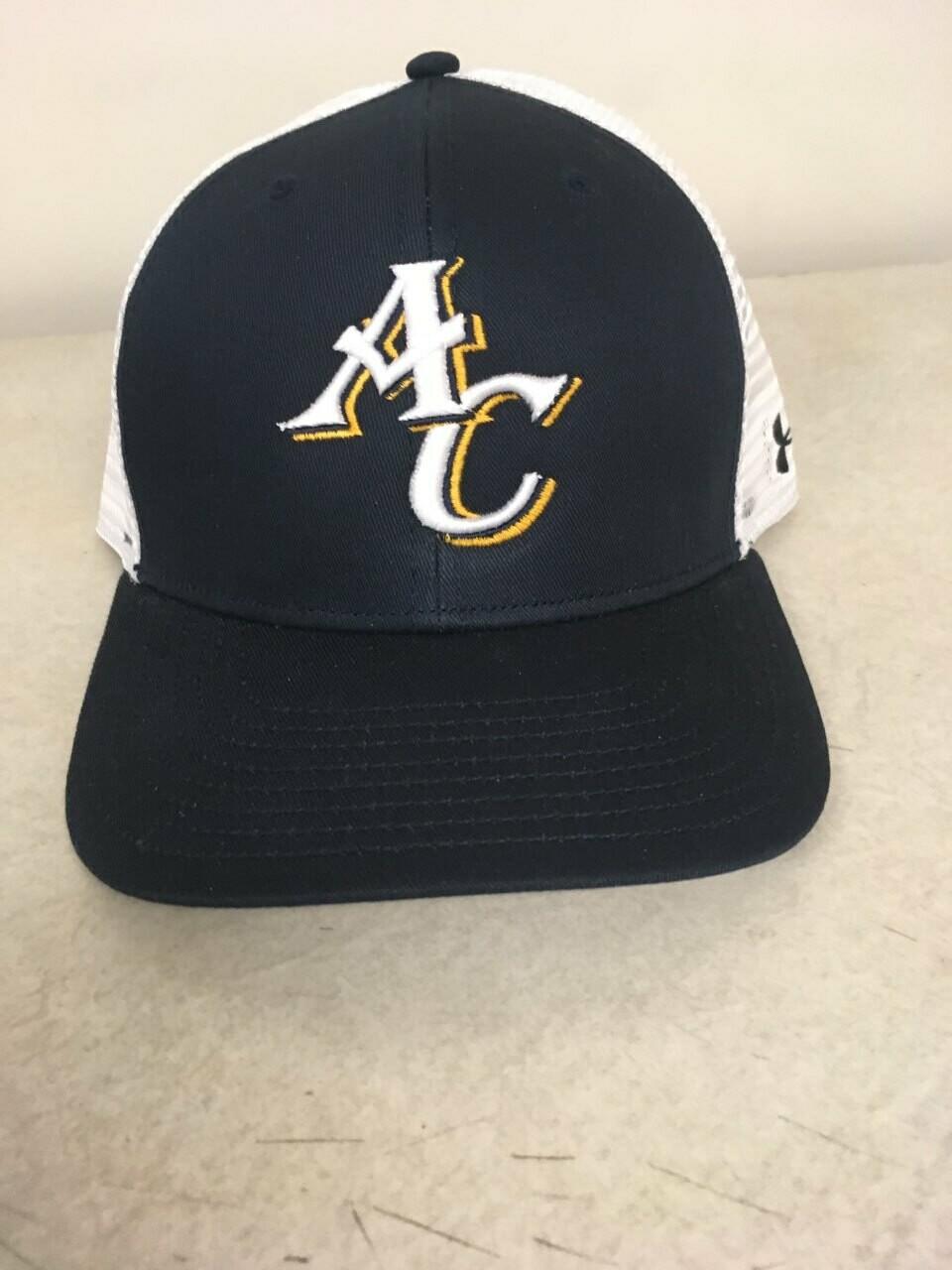 Navy Blue and White Mesh Baseball Hat