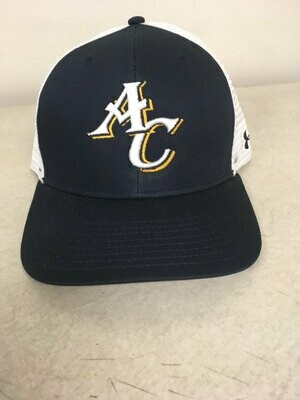 Navy Blue and White Mesh Baseball Hat