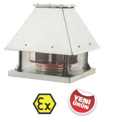 Взрывозащищенный крышный вентилятор BRCF-EX 280T | завод вентиляторов Bahcivan Motor (BVN)