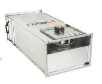 BSH 100-65A Прямоугольный канальный вентилятор с назад загнутыми лопатками 3750 м3/час  BVN
