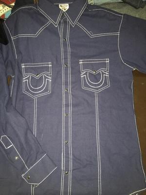 Camisa True Religion Azul Marino / Rey + White