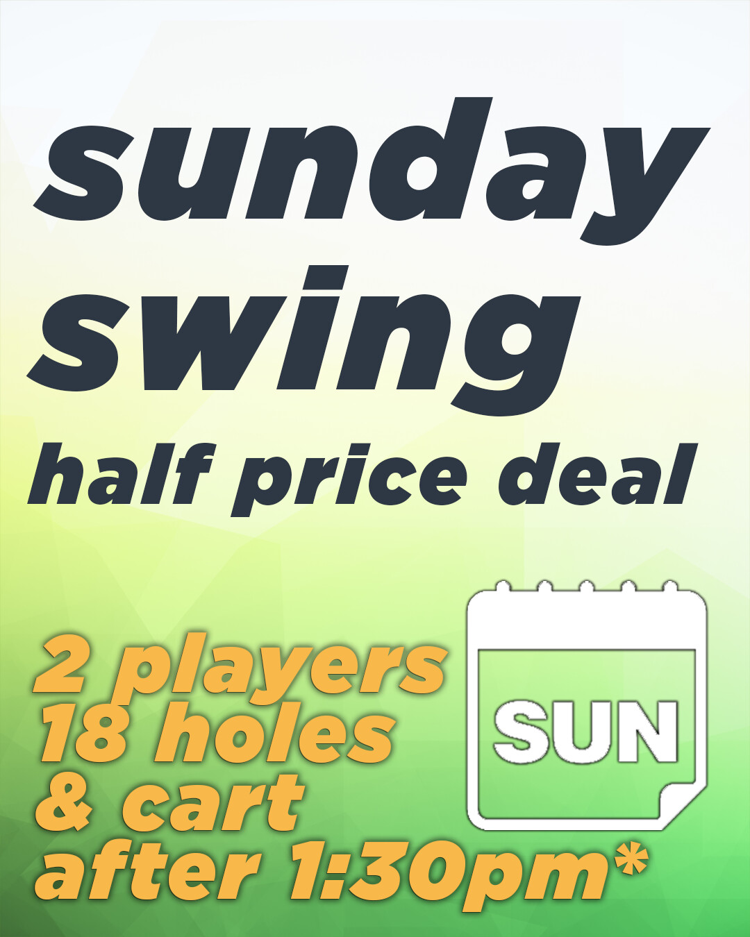 Sunday Swing HALF PRICE Deal