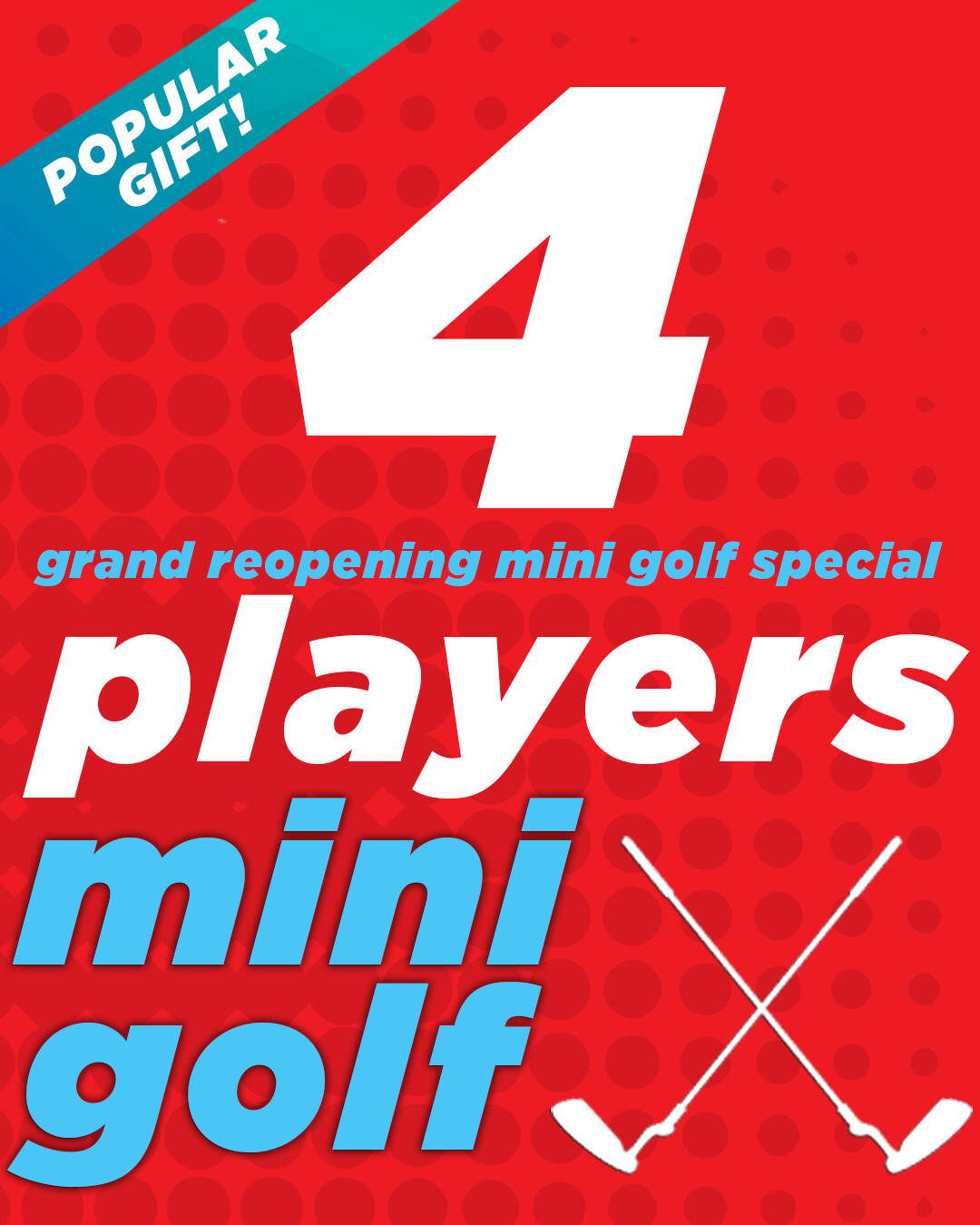Grand Reopening Special – 4 Players 40% OFF